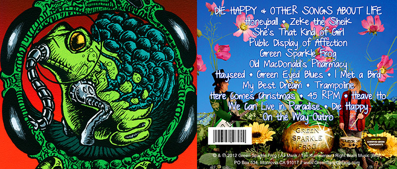 Green Sparkle Frog - Die Happy & Other Songs About         Life - Art from the CD